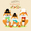 Happy Thanks giving vector fox family pilgrims hand lerttering Royalty Free Stock Photo