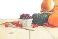 Happy thanksgiving autumn fruit for thanksgiving nature fall on wood selective focus Royalty Free Stock Photo