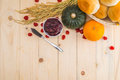 Happy thanksgiving autumn fruit for thanksgiving nature fall on wood selective focus Stock Photo