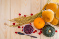 Happy thanksgiving autumn fruit for thanksgiving nature fall on wood selective focus Stock Images