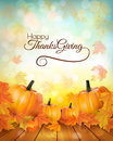 Happy Thanksgiving banner with autumn vegetables.