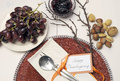 Happy thanksgiving beautiful table setting lunch brunch or casual modern dining shabby chic with autumn fall color theme and Stock Photography