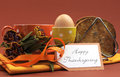 Happy thanksgiving breakfast with egg horizontal for your special one toast and coffee or tea in an orange polka dot cup and Royalty Free Stock Photo