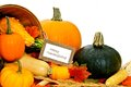 Happy thanksgiving card with scarecrow and harvest vegetables Stock Photography