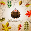 Happy thanksgiving cartoon turkey with leaves card illustration Stock Images