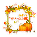 Happy thanksgiving day banner with flowers and