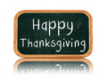 Happy thanksgiving day on blackboard banner d isolated with chalk text holiday concept Stock Image