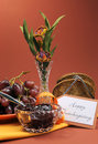 Happy thanksgiving day breakfast or morning brunch with toast jelly and grapes vertical against a red brown autumn setting flowers Royalty Free Stock Photos
