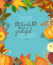 Happy thanksgiving day card with autumn leaves and pumpkins on blue background poster in vintage style Royalty Free Stock Photo