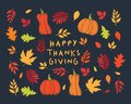 Happy Thanksgiving Day card. Background with autumn leaves and pumpkins.