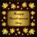 Happy thanksgiving day congratulation on gold background with maple leaf vector illustration of hand drawn inscription text Stock Photo