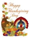 Happy Thanksgiving Day Cornucopia Turkey Illustrat