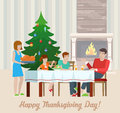 Happy thanksgiving day flat vector holiday postcard design greeting card template family at the festive table with fireplace Royalty Free Stock Image