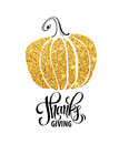 Happy Thanksgiving Day, give thanks, autumn gold glitter design. Typography posters with golden pumpkin silhouette and