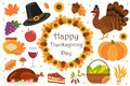 Happy Thanksgiving Day icon set, flat, cartoon style. Harvest festival collection design elements with turkey, pumpkin