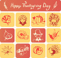 Happy Thanksgiving Day icons Royalty Free Stock Photo