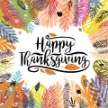 Happy Thanksgiving Day illustration with multicolor trendy autumn background. Great design element for congratulation