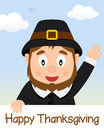 Happy thanksgiving day with pilgrim boy greeting card a man smiling eps file available Stock Image