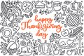 Happy thanksgiving day poster with greetings lettering and doodle illustration of celebration dinner, turkey, autumn