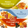 Happy Thanksgiving Day. Vector banners with traditional table plenty of food