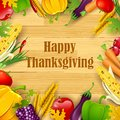 Happy thanksgiving illustration of background with fruit and vegetable frame Royalty Free Stock Photos