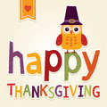 Happy thanksgiving illustration with owl in pilgrim costume day card poster or menu design cute hat autumn or fall background hand Royalty Free Stock Photography