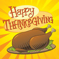 Happy thanksgiving illustration of a turkey with custom designed lettering theme Royalty Free Stock Image