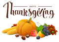 Happy Thanksgiving lettering text. Rich harvest of pumpkin, grapes, apple, corn, orange. Royalty Free Stock Photo