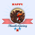 Happy Thanksgiving, message and cartoon turkey wearing a farmer hat and bow-tie