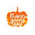 Happy Thanksgiving. Orange pumpkin