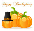 Happy thanksgiving pumpkins greeting card with three one of them wearing a black hat isolated on white background eps file Stock Image