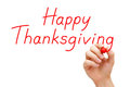 Happy thanksgiving red marker hand writing with on transparent wipe board Stock Photos