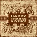 Happy Thanksgiving Retro Card Brown