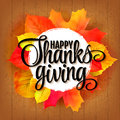 Happy Thanksgiving sticker or frame, tag  label beautiful maple leaves. Wood background, vector illustration. Royalty Free Stock Photo