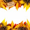 Happy Thanksgiving tag with colorful leaf double border over white Royalty Free Stock Photo