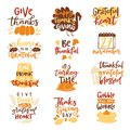 Happy Thanksgiving text logo vector lettering family dinner time together celebrate harvest time to say Thanks to nature Royalty Free Stock Photo