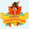 Happy thanksgiving turkey with autumn leaves