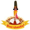 Happy thanksgiving turkey in pilgrim hat