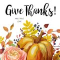 Happy Thanksgiving Vector floral watercolor style hand drawn Greeting card design: Autumn season orange Pumpkin pink ranunculus f Royalty Free Stock Photo