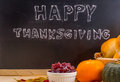 Happy Thanksgiving word cloud on a vintage slate blackboard.
