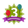 Happy third birthday badge vector icon. Royalty Free Stock Photo