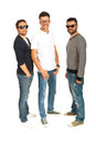 Happy three friends males male with sunglasses or eyeglasses in a row isolated on white background Royalty Free Stock Image