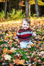 Happy Toddler Outside in the Autumn