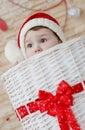 Happy toddler Santa peeking Royalty Free Stock Photo