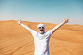 Happy tourist in safari desert cheerful guy Stock Image