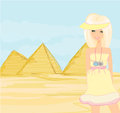 Happy tourist visits the pyramids illustration Stock Images