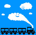 Happy train riding a and joyful Stock Images