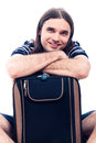 Happy traveller tourist man with luggage Royalty Free Stock Photo