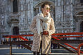 Happy traveller woman in Milan, Italy looking into distance Royalty Free Stock Photo