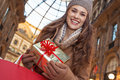 Happy traveller woman with shopping bags in Milan, Italy Royalty Free Stock Photo